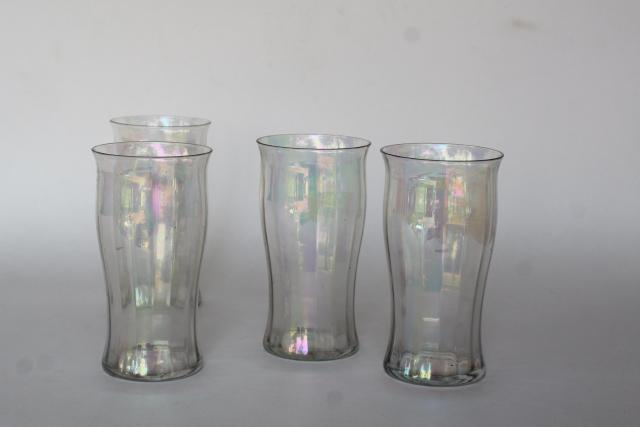 iridescent luster vintage West Virginia glass soda glasses, flat tumblers