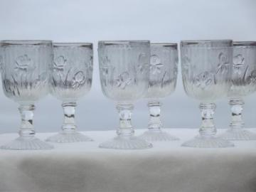 iris & herringbone pattern depression glass, vintage sherry wine glasses