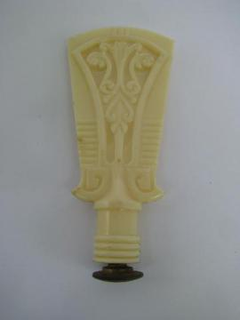 ivory colored plastic lamp shade finial, vintage 1940s or 50s