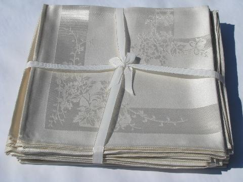 ivory damask dinner napkins, vintage 1950s, set of 12, original labels