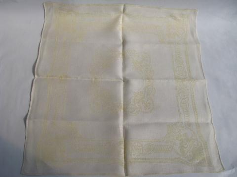 ivory / pale yellow jacquard, lot vintage linen damask dinner napkins