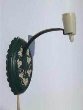 ivy green tole pin up reading lamp, vintage 40s wall sconce light