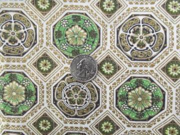 jadite green and metallic gold print cotton decorator fabric, 40s 50s vintage
