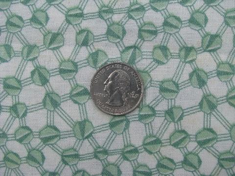 jadite green geometric print, vintage cotton feed or flour sack fabric
