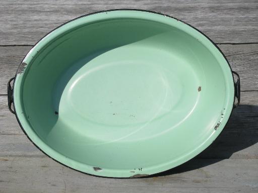 Jadite Green Vintage Enamelware Big Old Primitive Wash