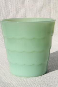 jadite green vintage jadeite glass flowerpot, plant pot, small planter