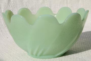 jadite green vintage jadeite glass lotus flower shaped bowl or planter pot