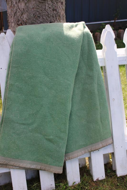jadite green wool / rayon bed blanket never used, 40s 50s vintage bedding