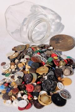 jar of old antique vintage buttons from five generations family farm, many 1800s