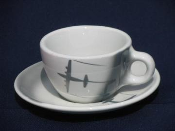 jet age vintage airplane coffee cup and saucer, MCM Cosmopolitan china