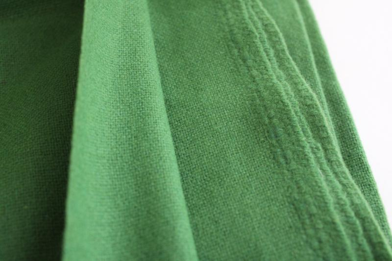 kelly green wool fabric, vintage material for crafts sewing, rug making