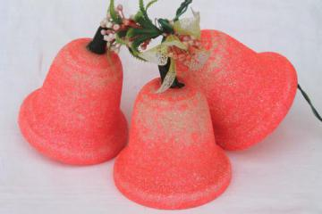 kitschy 1950s 60s vintage Christmas bells, day-glo neon pink light up holiday decoration