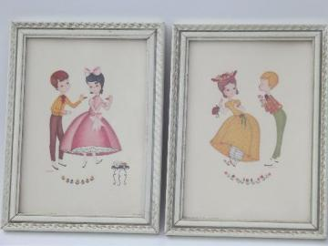 kitschy vintage boudoir prints, framed boy and girl wall art dated 1957