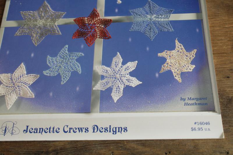 knitting pattern booklet, instructions for knitted lace snowflakes mini doilies ornaments