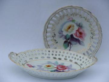 lace edge pierced china dishes w/ hand-painted flowers, vintage Japan