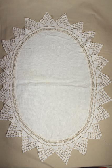 lace trimmed linen table mats & centerpieces w/ crochet edgings, shabby vintage doily lot