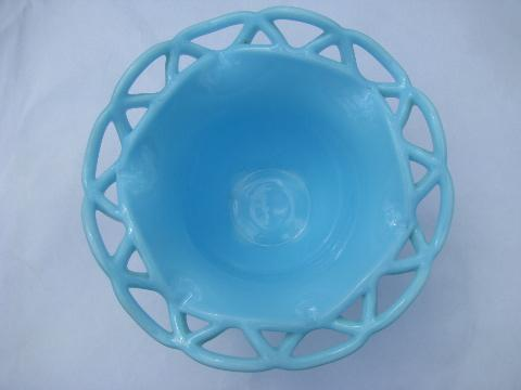 laced edge open lace edge vintage Imperial blue milk glass bowl