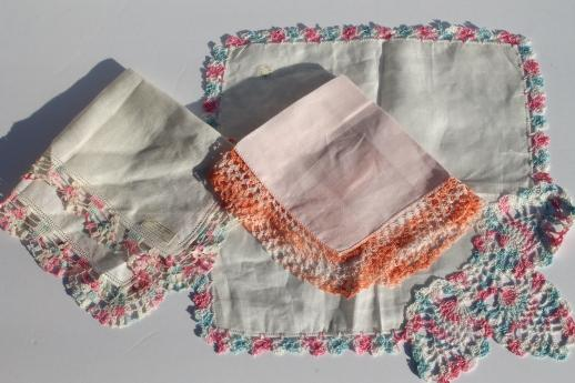 lacy vintage hankies trimmed w/ cotton thread crochet lace, lot of 25 handkerchiefs