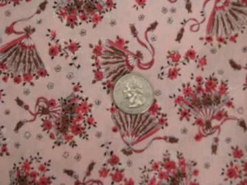 ladies fans print on pink, 1950s-60s vintage Fan Fare cotton fabric