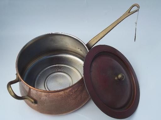 large Douro B M copper steamer pan w/ china insert, Benjamin & Medwin