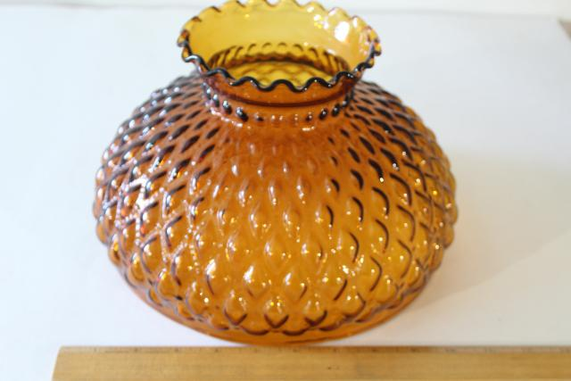 large amber glass lampshade, vintage replacement shade quilted pattern colored glass