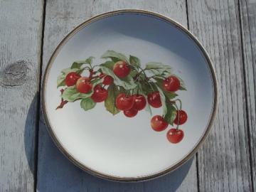 large antique china plate w/ red cherries, vintage 1912 marked date