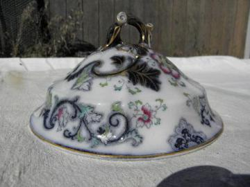 large antique flow blue china dome cover for serving bowl or cheese plate