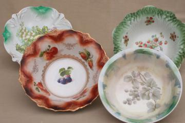 large antique fruit bowls, collection of early 1900s vintage painted china dishes
