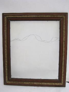 large antique oak picture frame, Arts & Crafts vintage, grained wood