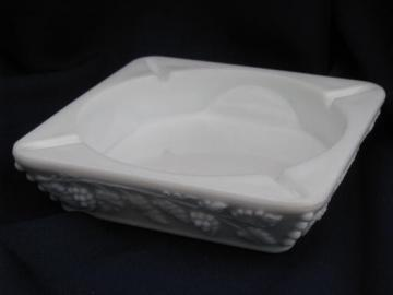large ashtray, Westmoreland paneled grape vintage grapes milk glass