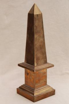 large brass obelisk on pillar, 80s vintage home decor desk sculpture or garden ornament