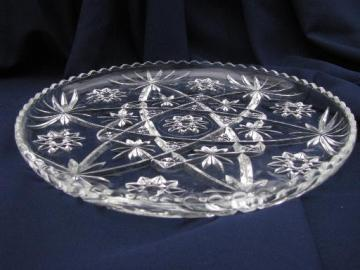 large cake or torte serving plate, vintage Anchor Hocking prescut star pattern glass