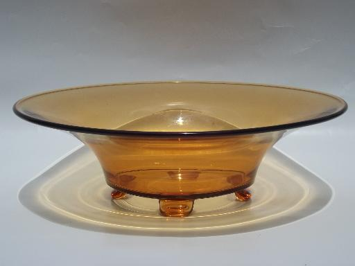 Large centerpiece bowl vintage amber glass paw footed