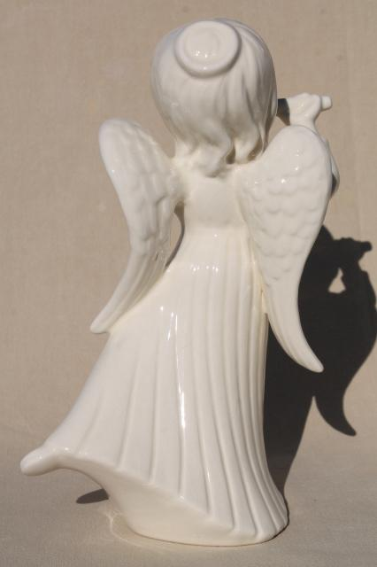 large ceramic angels in ivory white glaze, pair vintage handmade Christmas angel statues