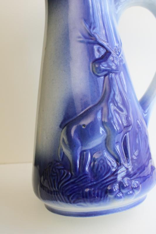 large ceramic pitcher w/ stag deer, cobalt blue shaded color like flow blue
