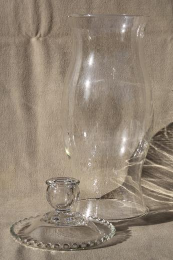 Large Clear Glass Hurricane Lamp For Candles Vintage