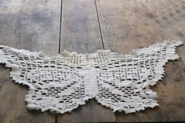 large crochet lace butterfly, vintage handmade doily or chair bac