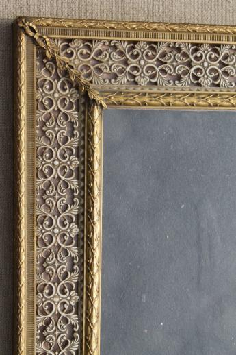 Large Easel Picture Frame For Table Sign Or Vanity Stand Mirror Vintage Gold Metal Filigree