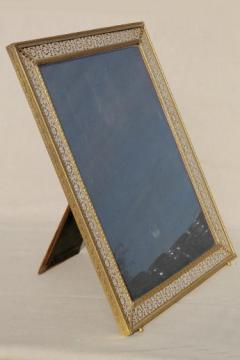 large easel picture frame for table sign or vanity stand mirror, vintage gold metal filigree frame
