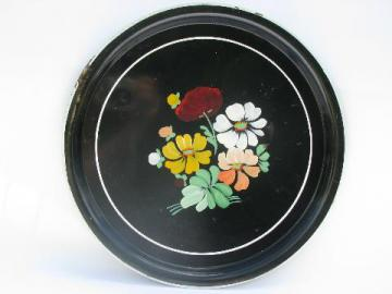 large enamelware tray w/ hand-painted flowers, vintage Ransburg