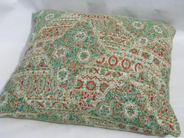 large feather pillow in lovely vintage paisley print cotton fabric