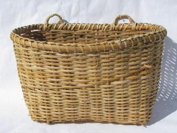 large flat back wall pocket basket, vintage farm kitchen primitive