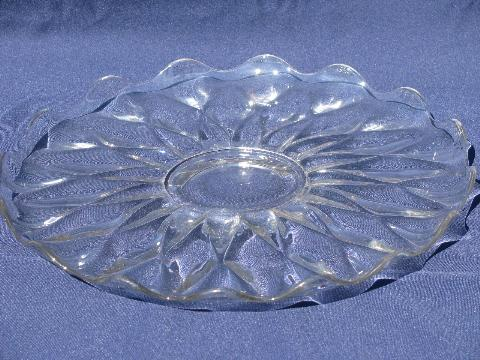 large flat cake or torte plate, vintage pressed pattern Indiana glass?