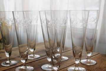 large flute shape glasses, vintage wheel cut stemware, crystal clear pilsner glass set