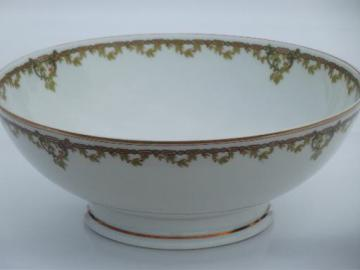 large footed bowl, antique Haviland Limoges china berries and vine border