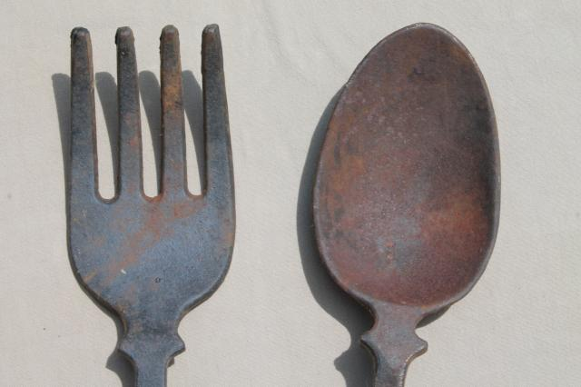 Fork And Spoon Wall Art fork & spoon vintage cast iron metal wall art, kitchen or