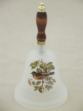 large frosted glass bell, wood handle schoolhouse bell w/ oriole bird