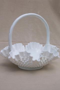 large glass basket, Fenton hobnail milk glass, vintage brides basket