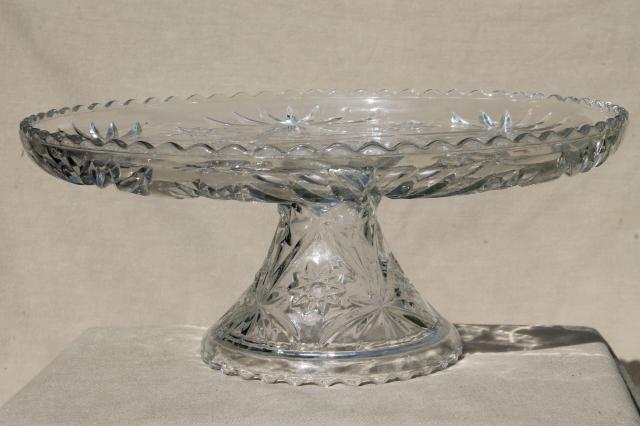 large glass cake stand, vintage Anchor Hocking pres cut star pattern glass pedestal plate