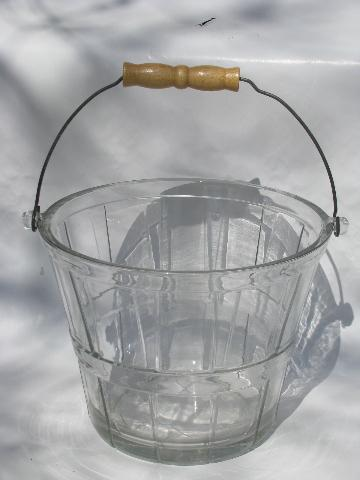 Large Glass Flower Bucket For Flowers Or Ice Old